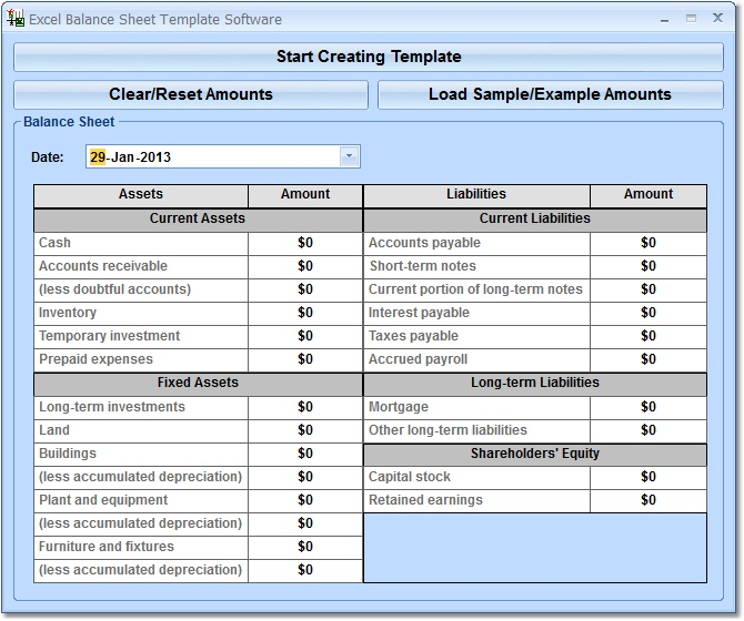 Balance Sheet Template Excel Software