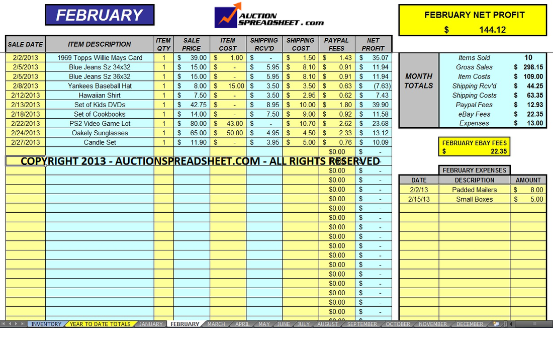 Free Simple Accounting Spreadsheet Small Business