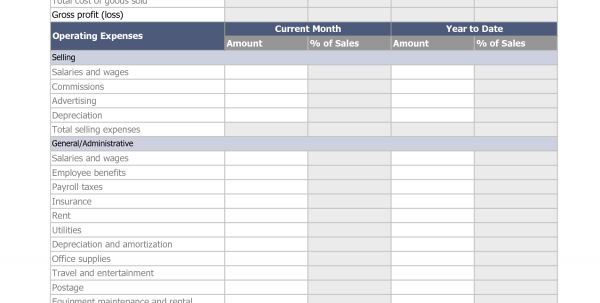 Income Statement Worksheet Excel