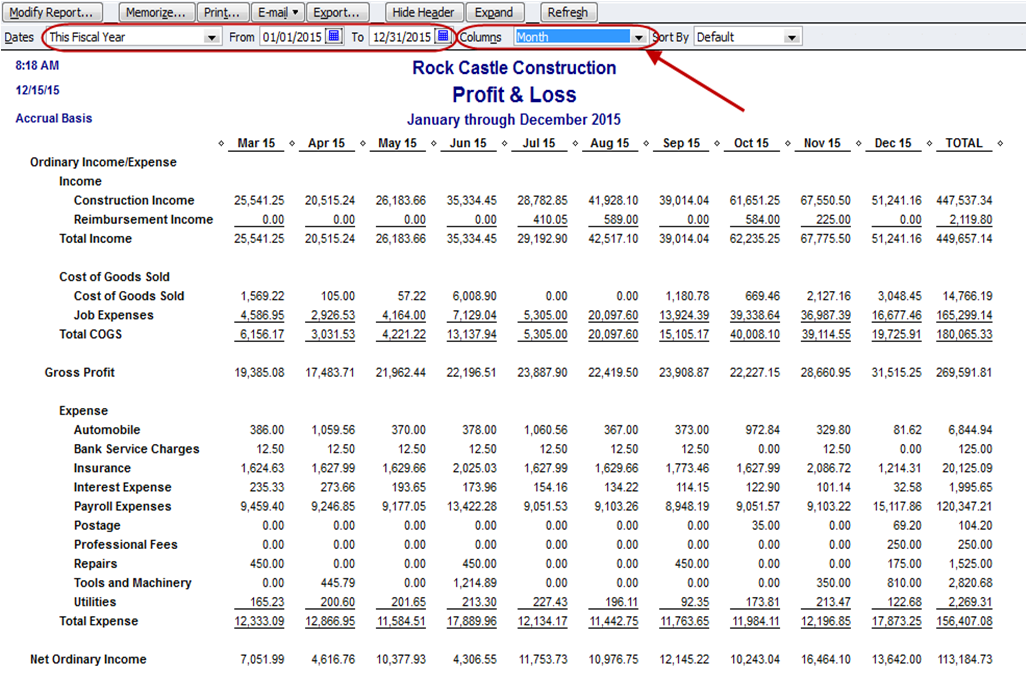 Monthly Income Statement Quickbooks