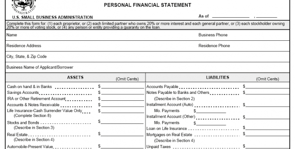 Personal Financial Statements Templates