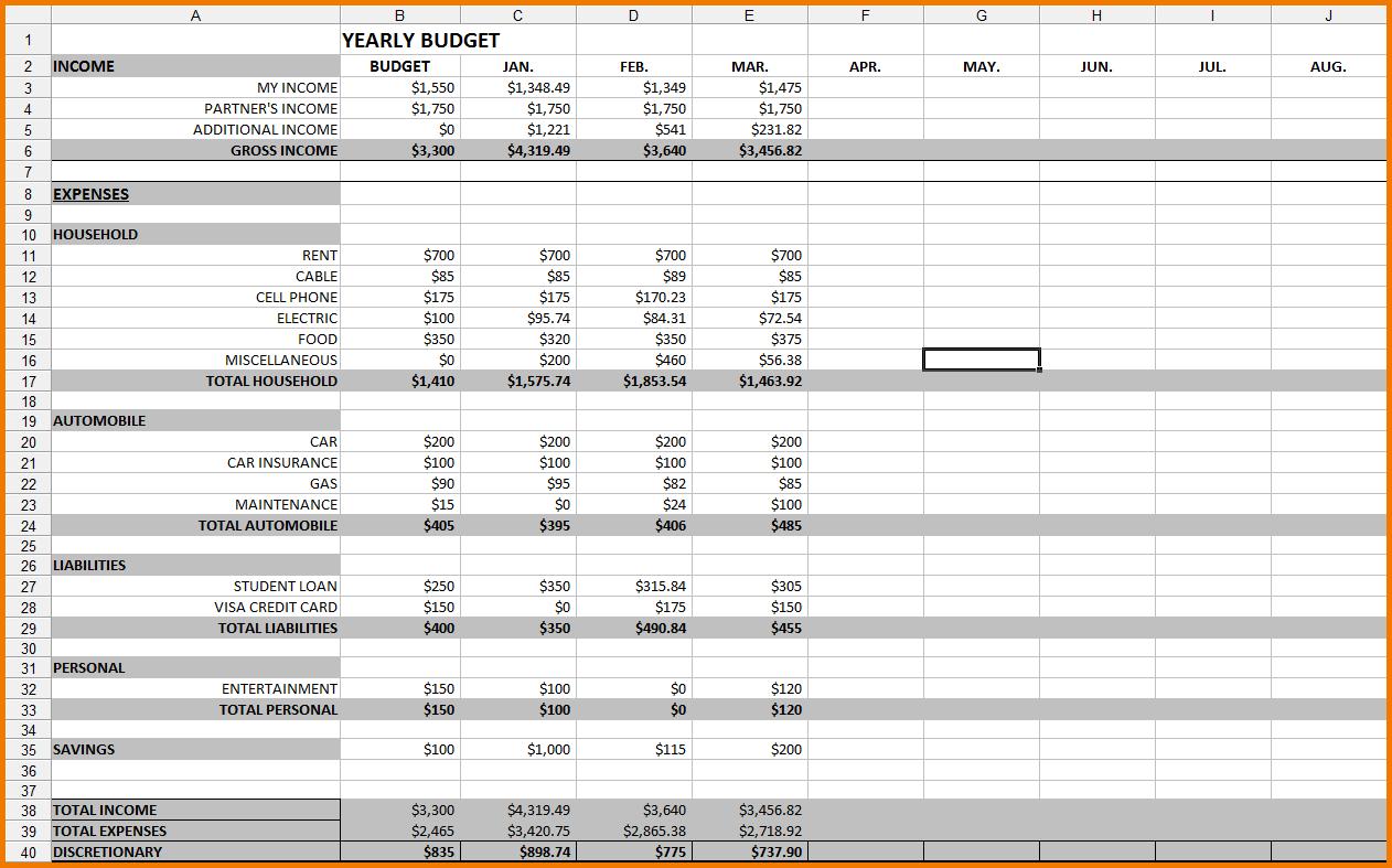 monthly spreadsheet template  u2013 db