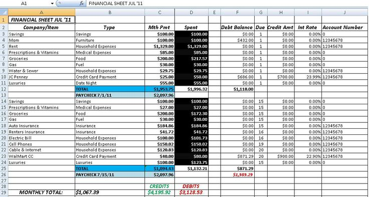 accounting spreadsheets templates