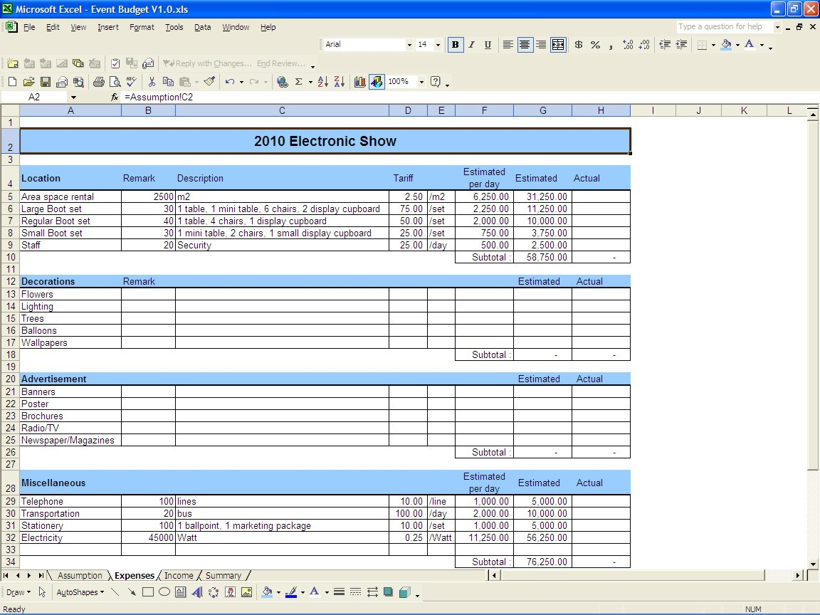 Budget Expense Report