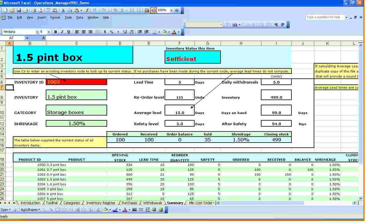inventory spreadsheet template for excel 2