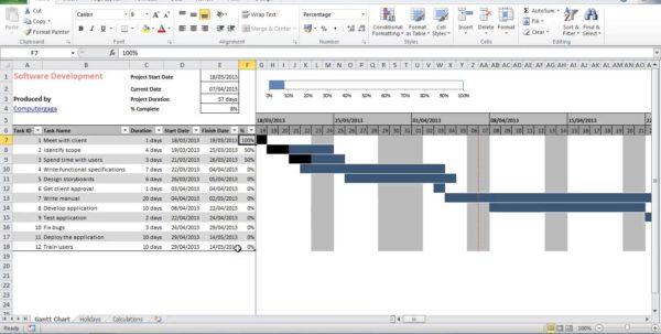 Free Gantt Chart Template Excel 2013
