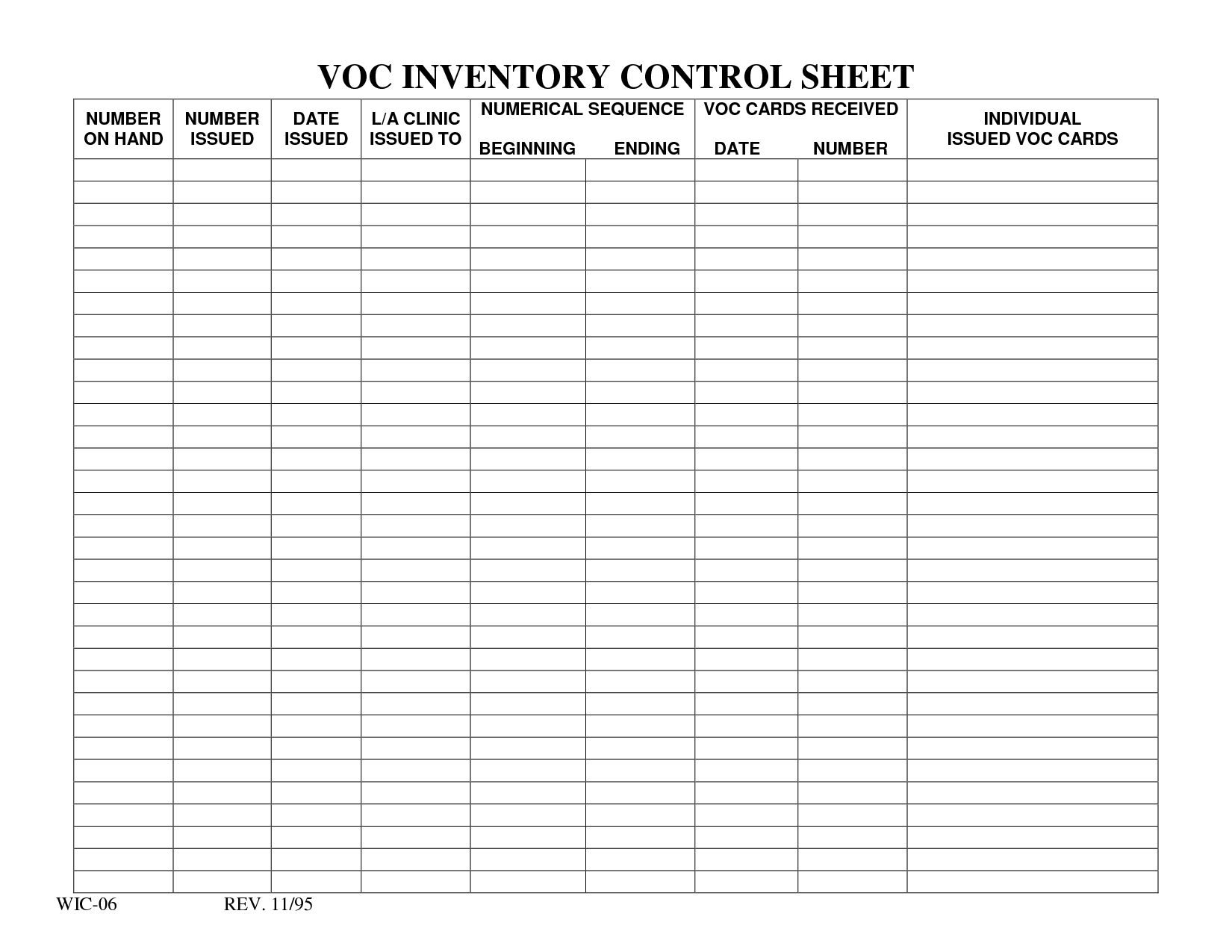 Free Inventory List Forms