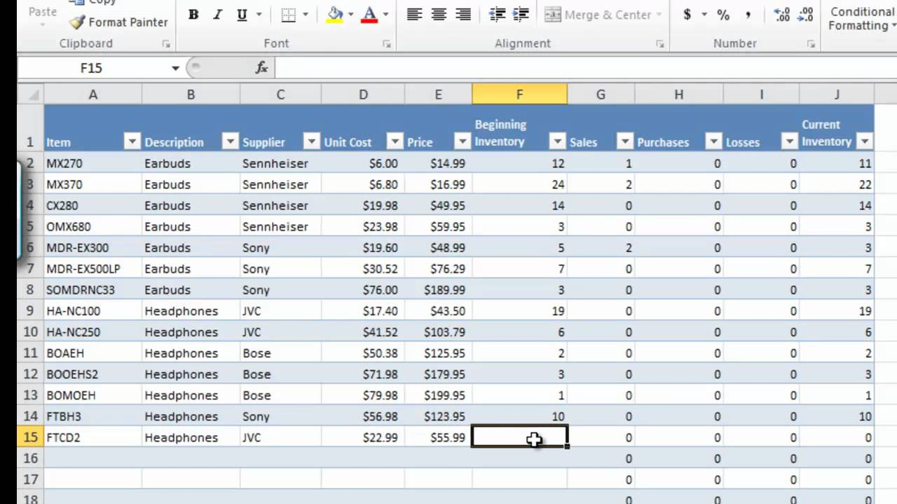 how to manage inventory with excel  u2013 db