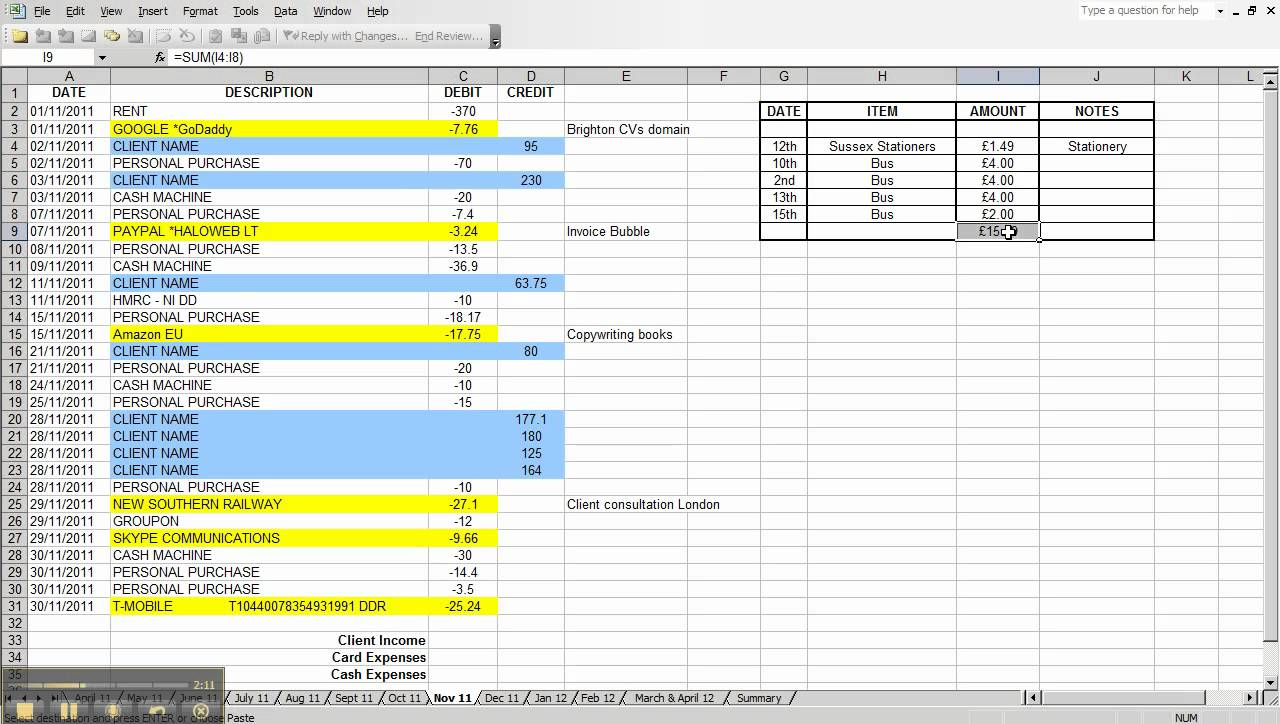Simple Bookkeeping With Excel