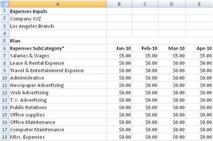 Small Business Expense Spreadsheet Template 1