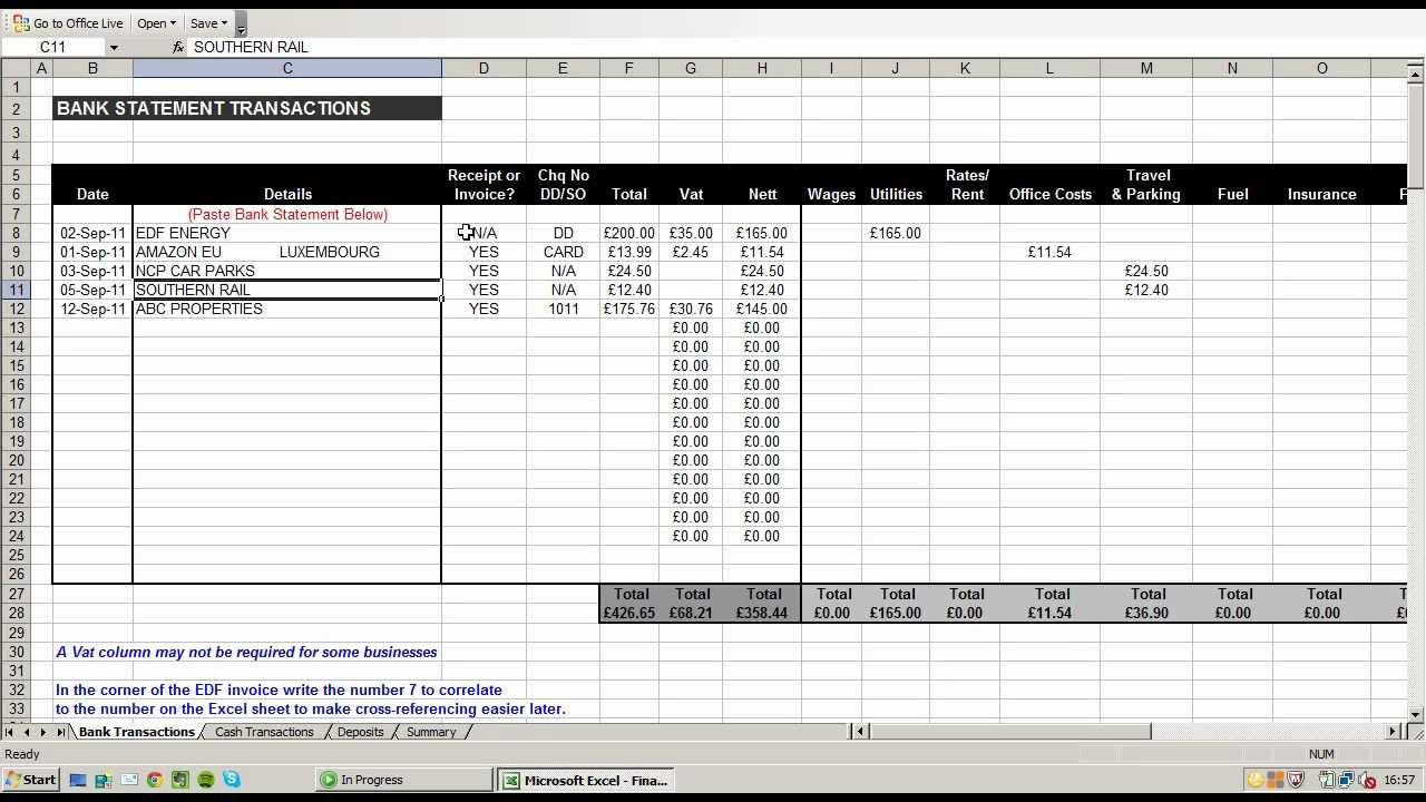 expense sheet example