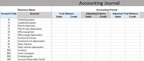 Accounting General Journal Template