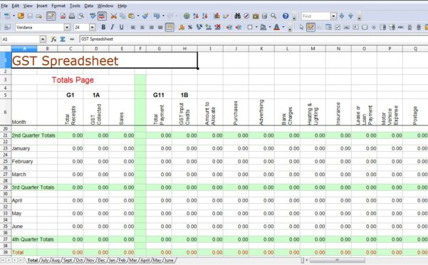 Accounting Spreadsheet Example