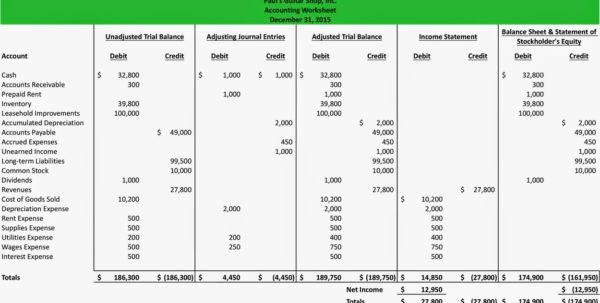 Balance Sheet Worksheet