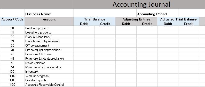 Bookkeeping Sample Spreadsheet