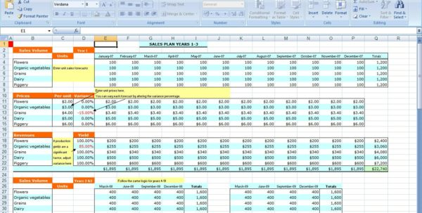 excel template business plan