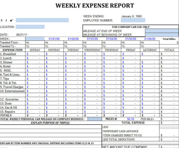 Business Expenses Template For Taxes
