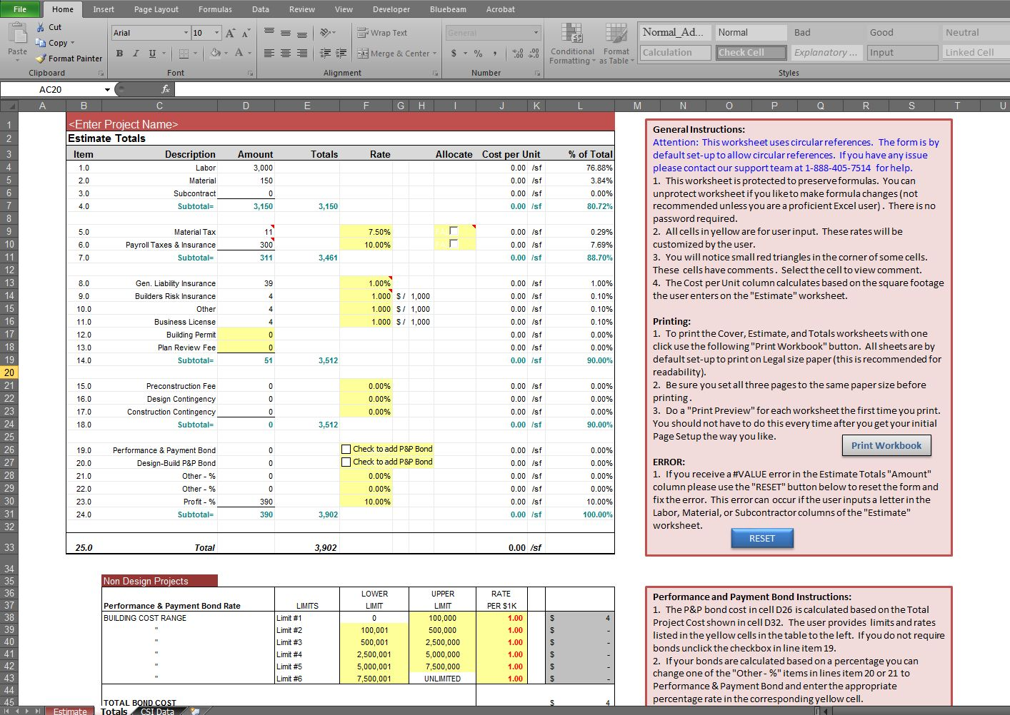 Estimate Spreadsheet Template Estimate Spreadsheet