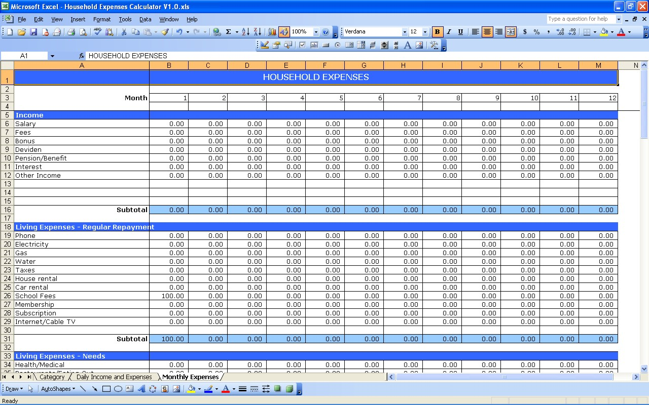 Daily Income And Expense Excel Sheet 2 Excel Spreadsheet ...