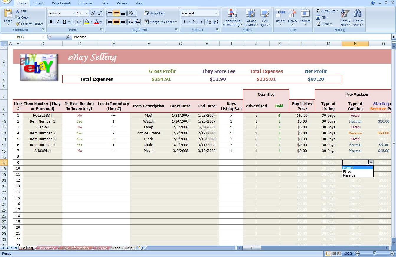 ebay spreadsheet template spreadsheet templates for