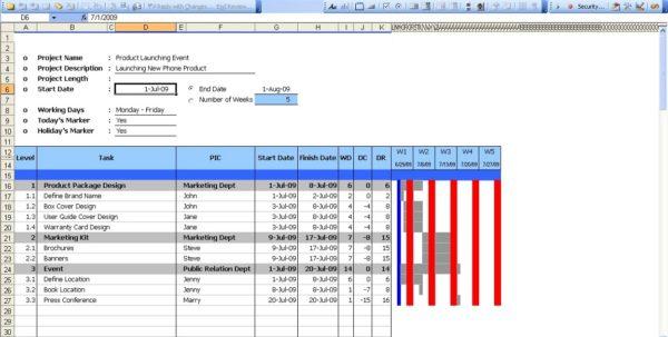Excel Gantt Chart Template 2015