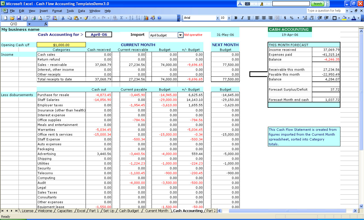 Monthly accounts excel template excel cashbook for easy bookkeeping accmission Images