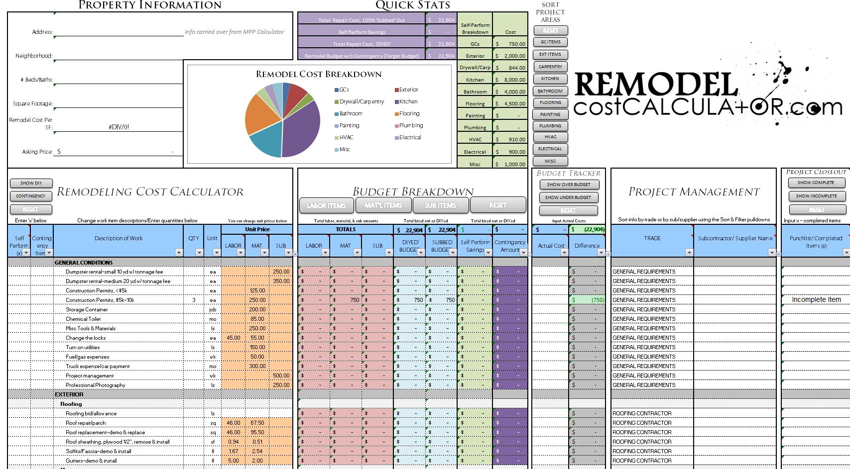 Home Improvement Spreadsheet