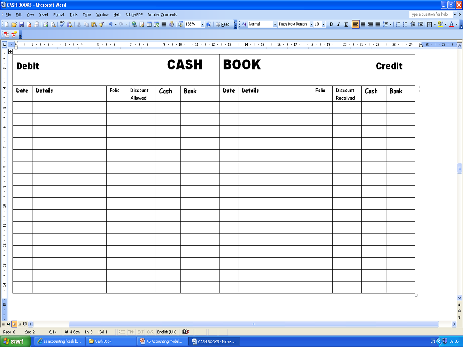 Microsoft Excel Accounting Template