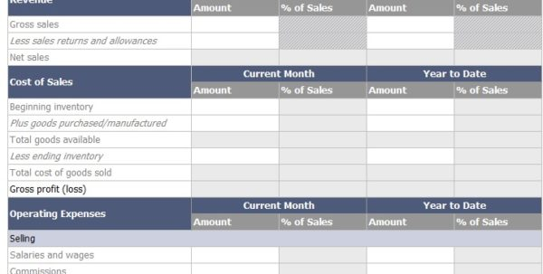 Income Statement Creator