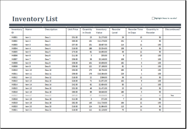 Inventory Management Excel Format Free Download