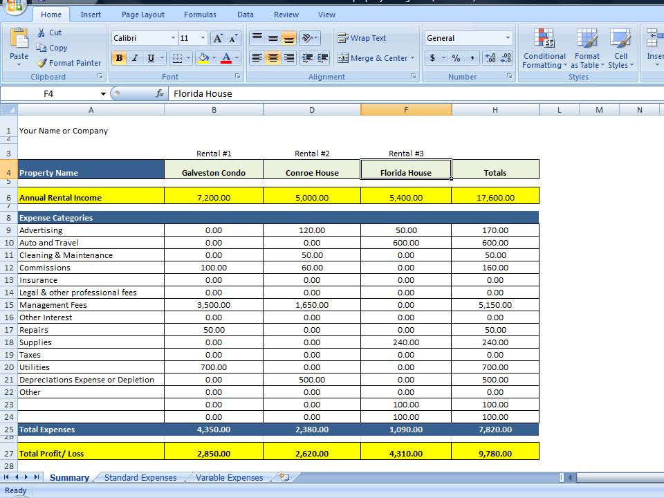 simple expense report excel
