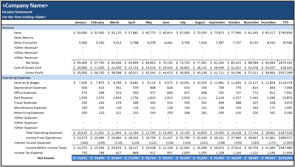 Monthly Income Statement Template Excel
