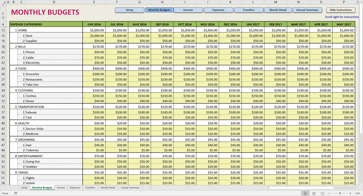 monthly finance spreadsheet