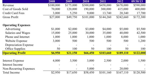 Quarterly Income Statement Example