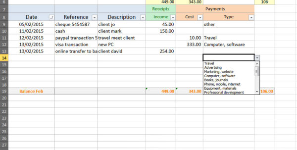 Simple Accounting Spreadsheet Template 1