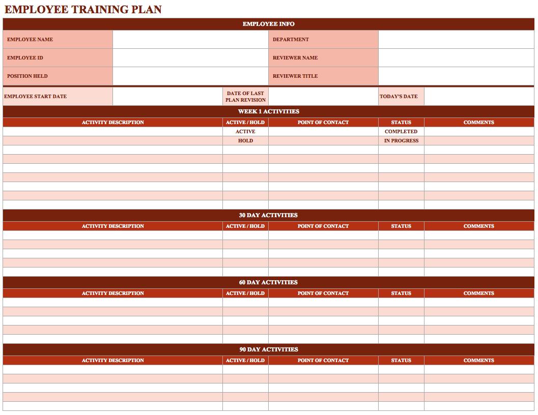 Training Spreadsheet Template Spreadsheet Templates for ...
