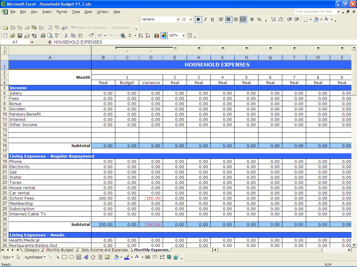Yearly budget template monthly expense spreadsheet for Annual household budget template