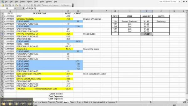 Self Employed Expenses Spreadsheet Free