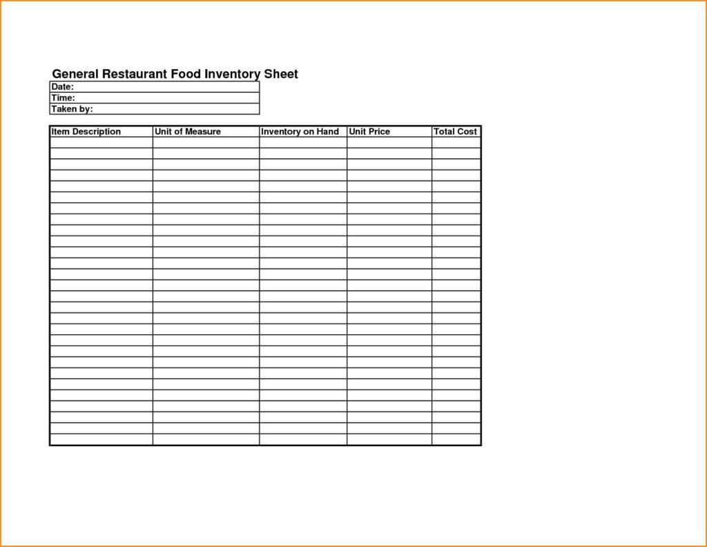 Bar Inventory List Template
