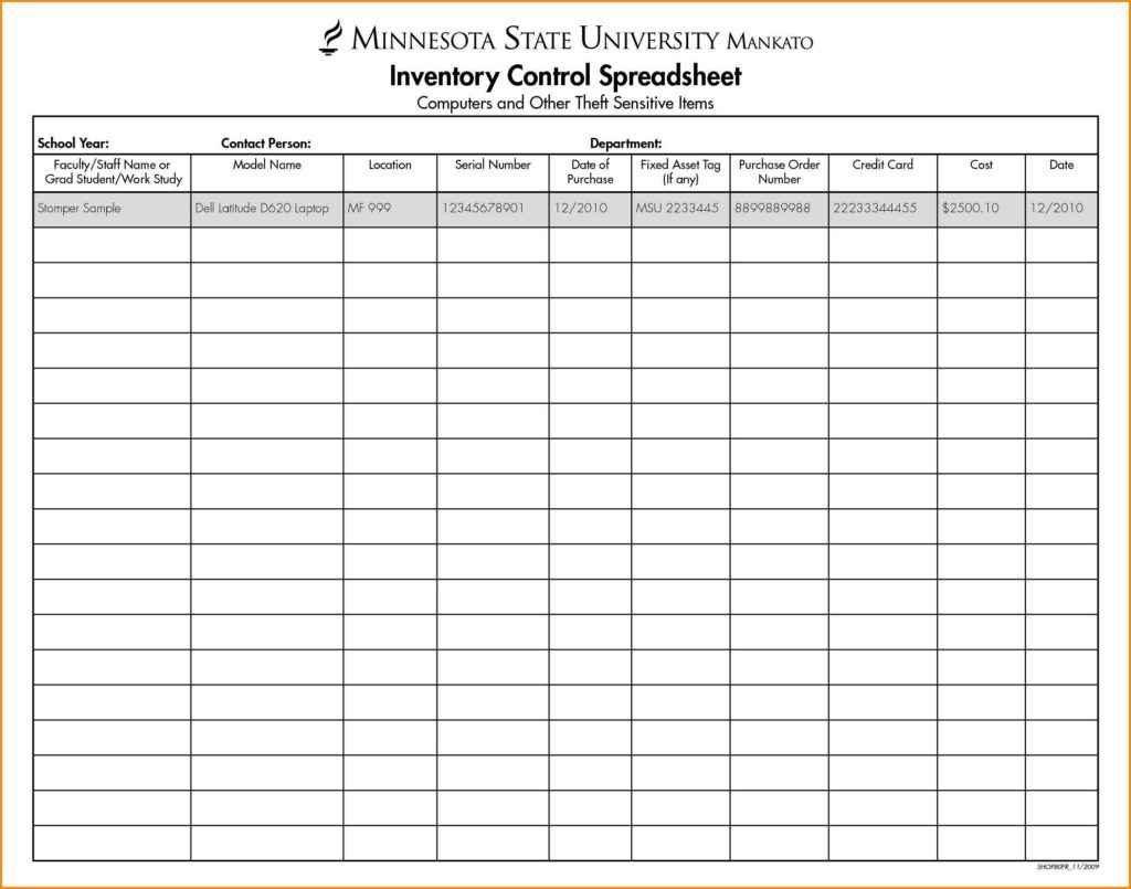 Bar Inventory Spreadsheet