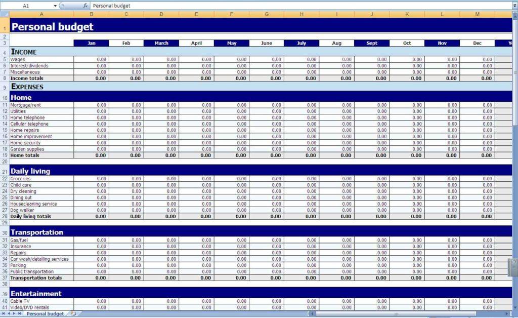 Basic Monthly Budget Worksheet