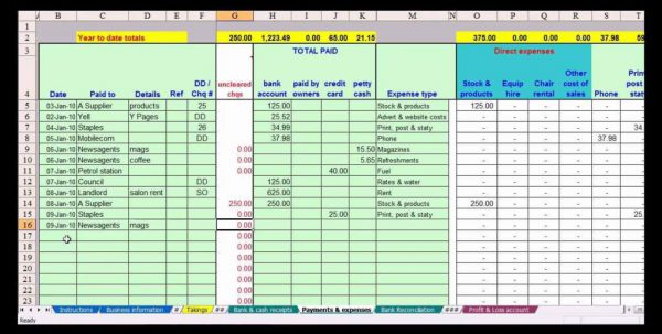 Bookkeeping Spreadsheet For Small Business