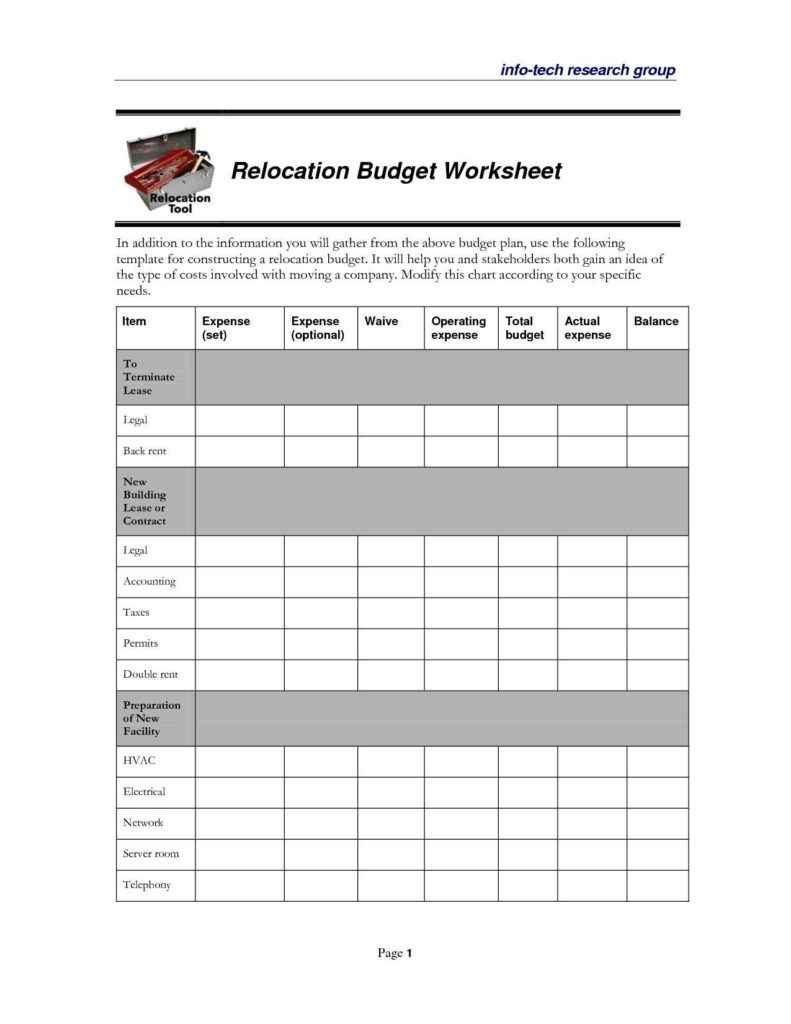 Budget Format Excel Sheet