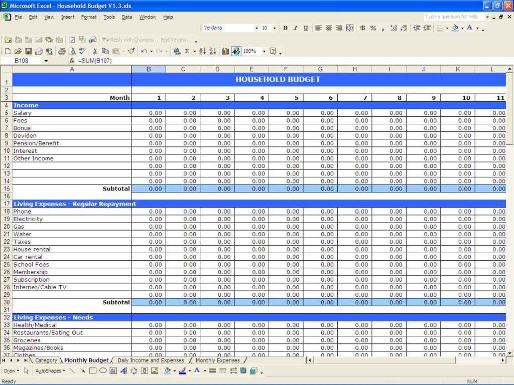 Budget Planner Spreadsheet Template