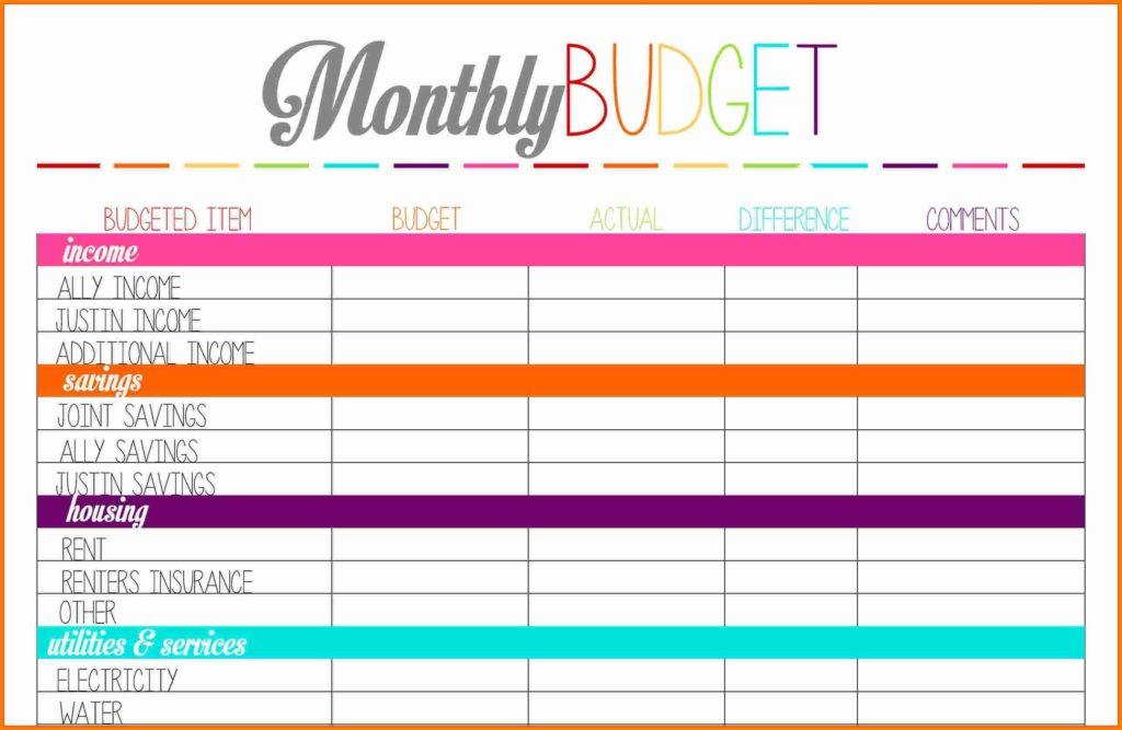 budget sheet free