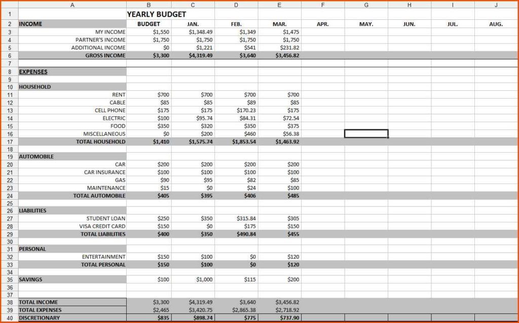 Budget Spreadsheet Template Free