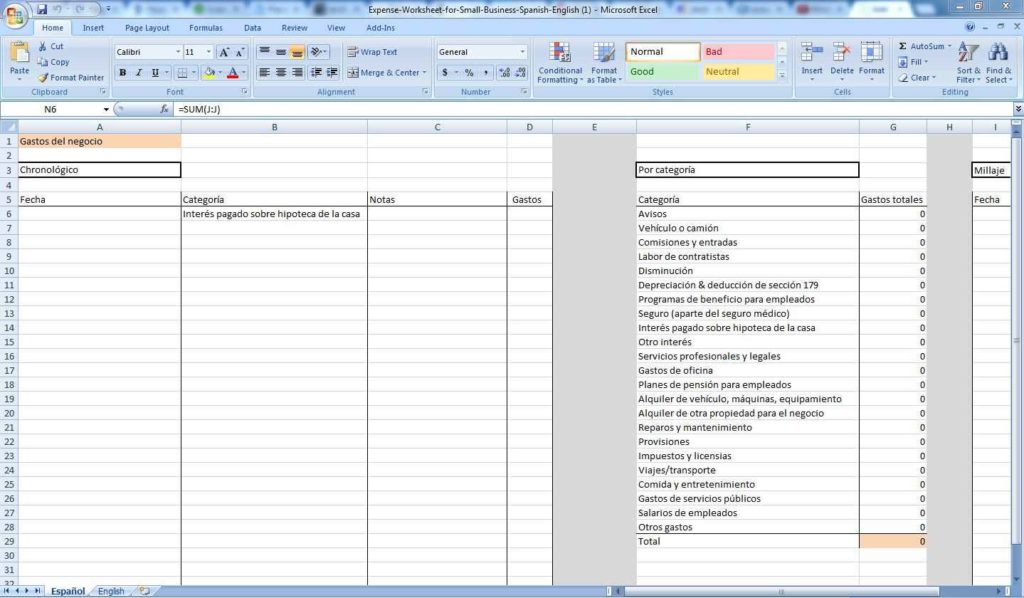Business Expense Spreadsheet Example