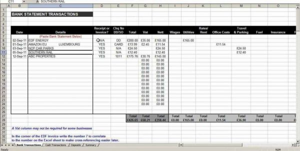 Business Expense Spreadsheet Excel