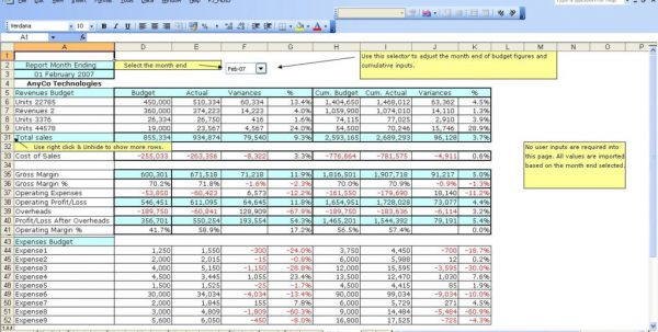 Business Finance Spreadsheet Template