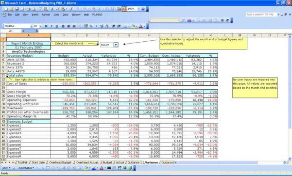 Business Finance Spreadsheet Template